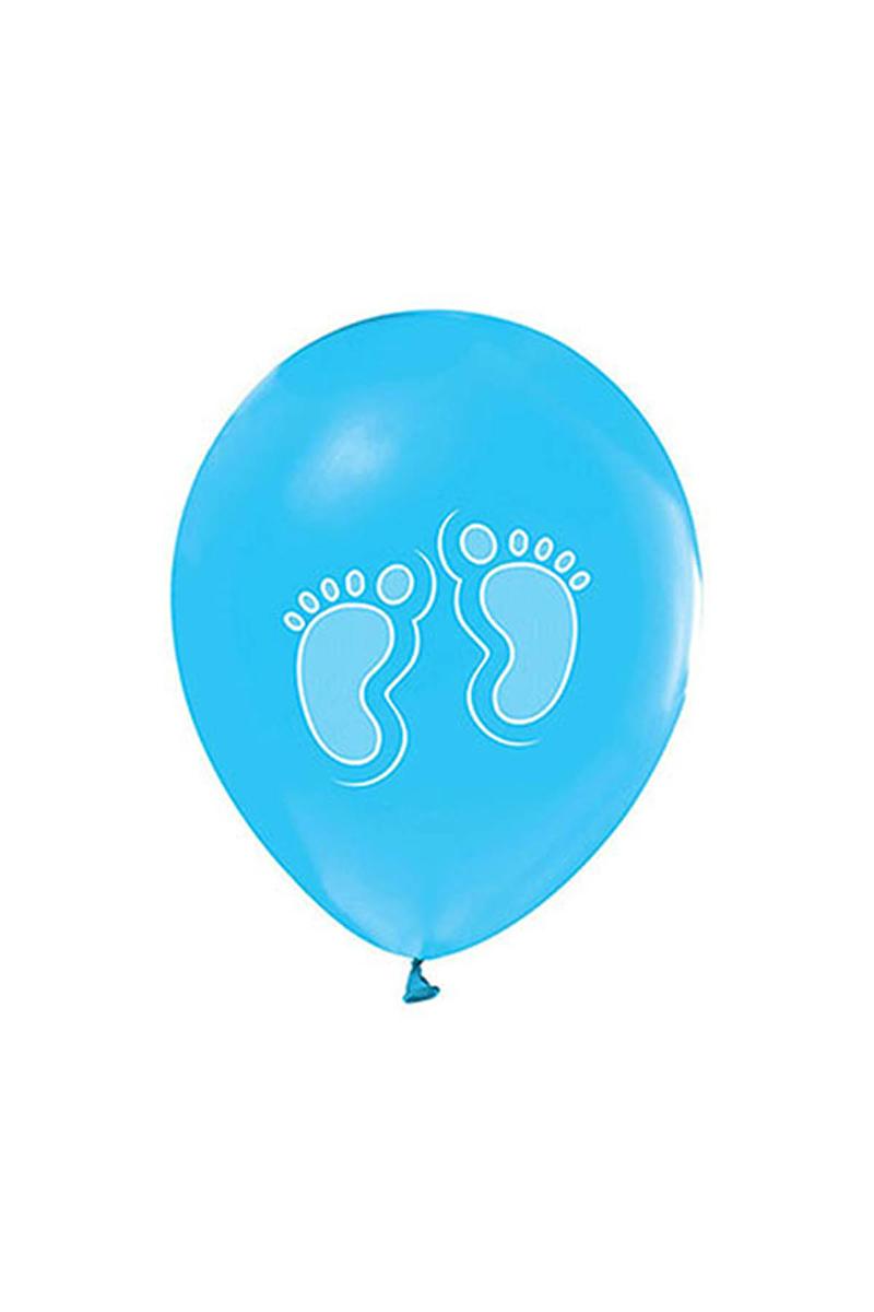 Beyaz Ayaklar Baskılı Metalik Mavi Balon 10lu