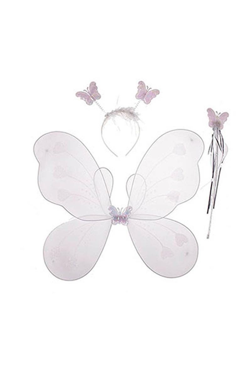 Beyaz Kelebek Kanat-Taç-Asa Set 3lü
