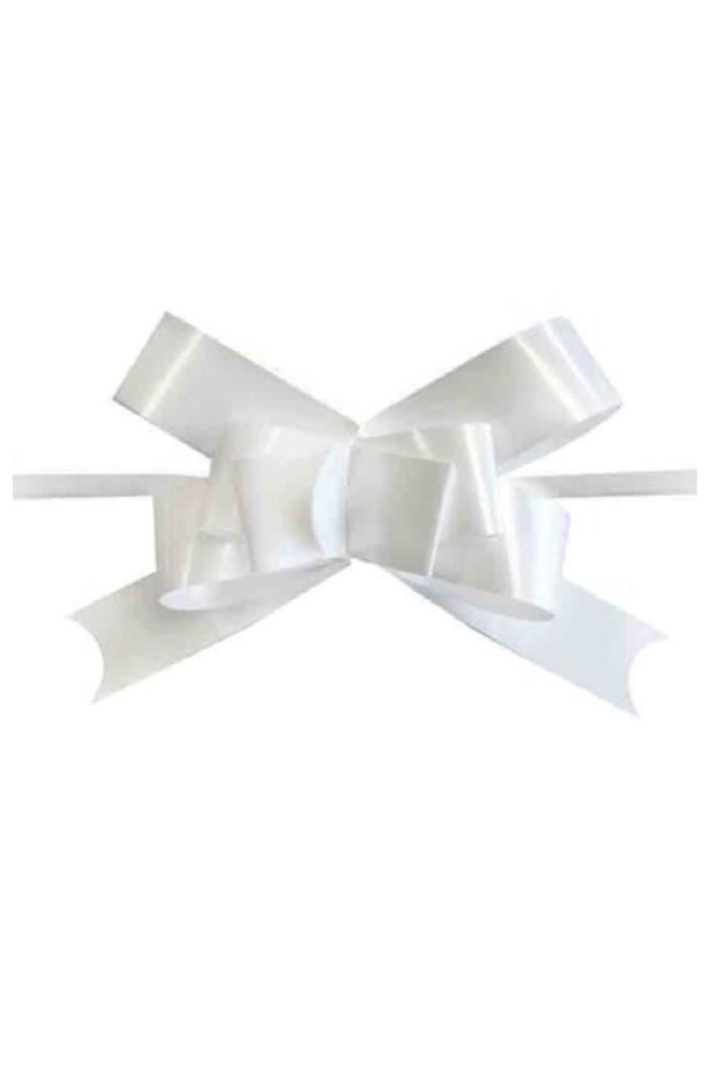 Beyaz Pratik Çekme Fiyonk Süs 25li - Thumbnail