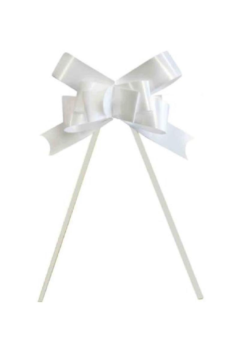 Beyaz Pratik Çekme Fiyonk Süs 25li
