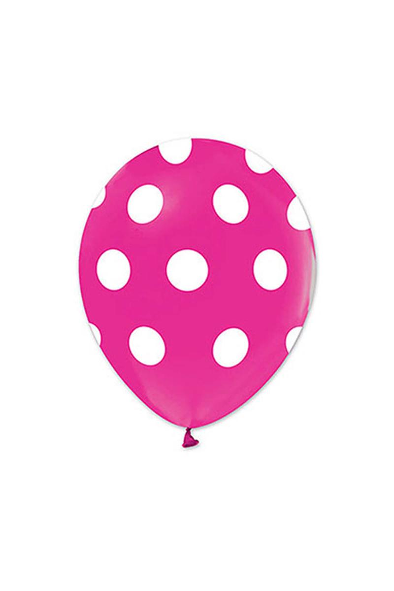 Beyaz Puantiyeli Fuşya Balon 30cm (12inch) 10lu