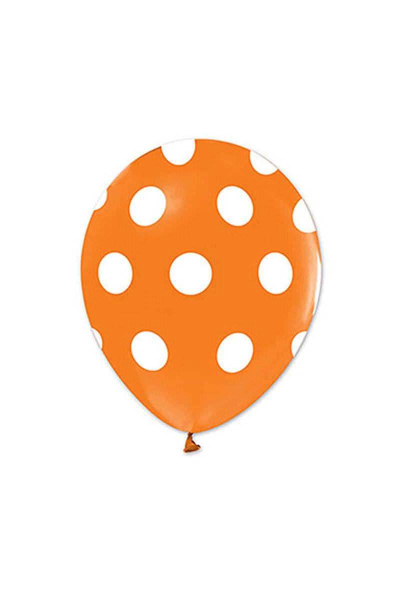 Beyaz Puantiyeli Turuncu Balon 30cm (12inch) 10lu