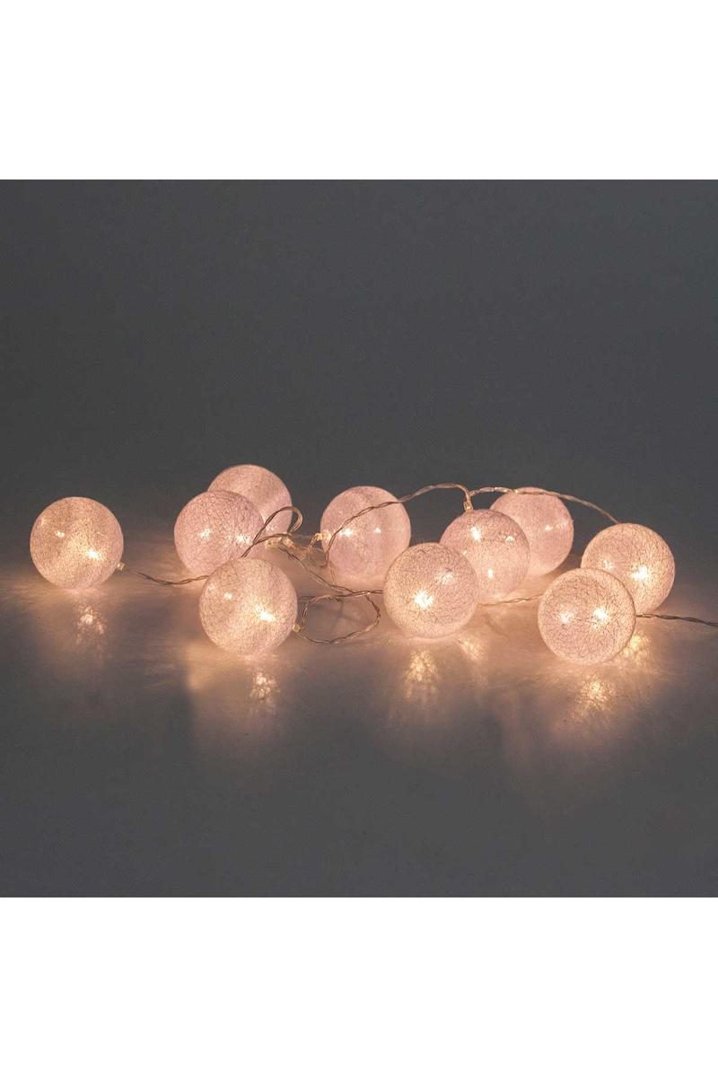 Beyaz Toplar Pilli Led Işık 10 Lamba 2m 1 Adet