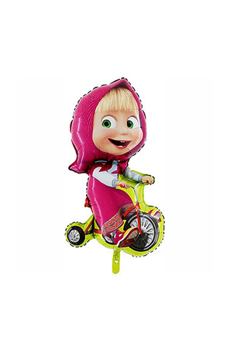 Bisikletli Masha Folyo Balon 45cm 1 Adet