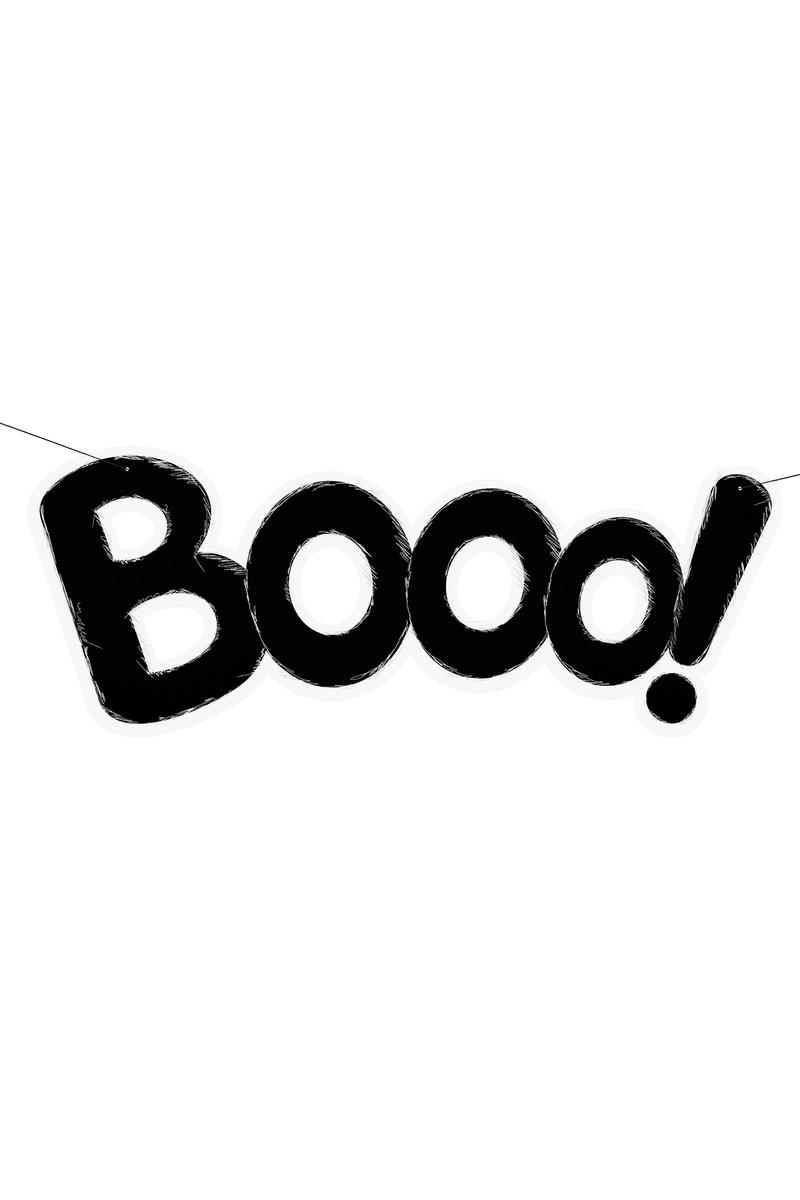 BOOO! Yazılı Siyah Kağıt Afiş 26x68cm 1 Adet - Thumbnail