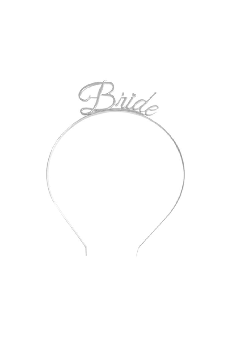 Bride El Yazısı Metal Lüks Gümüş Taç 1 Adet