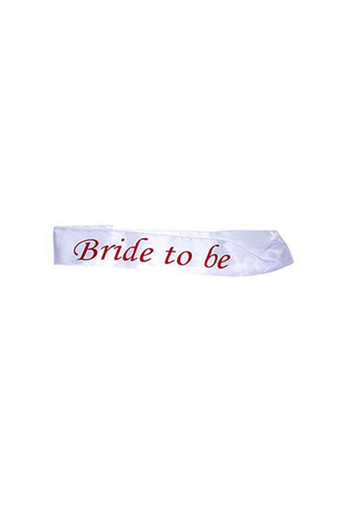 Bride To Be Beyaz Üzeri Fuşya Yazılı Kuşak 1 Adet