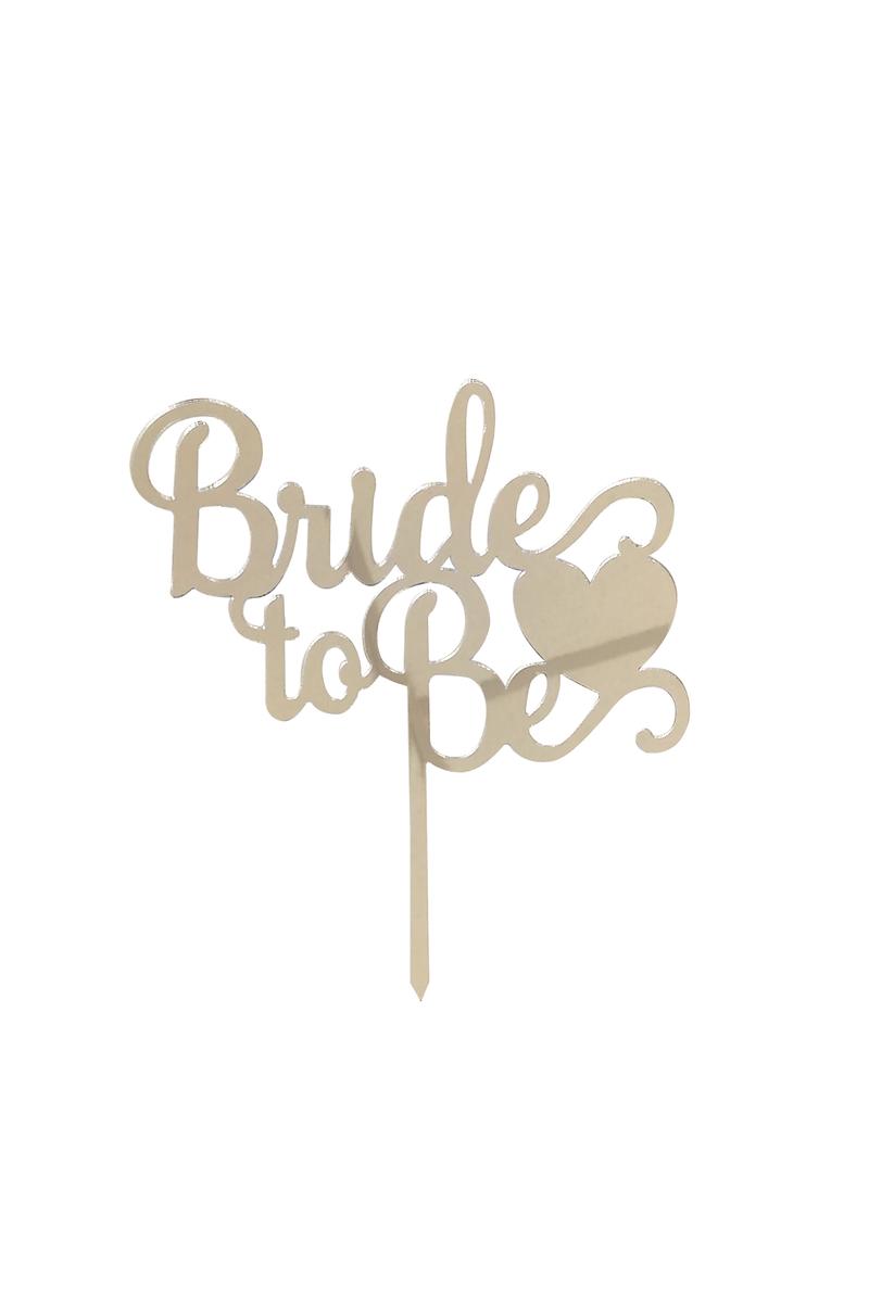 Bride To Be Kalpli Pleksi Pasta Süsü Gümüş 15x15cm 1 Adet