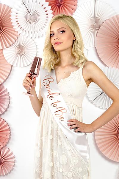 Bride To Be Rose Gold Baskılı Beyaz Kuşak 10x75cm 1 Adet