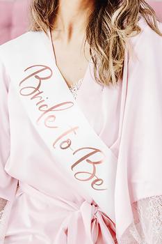 Bride To Be Rose Gold Baskılı Beyaz Kuşak 10x75cm 1 Adet - Thumbnail