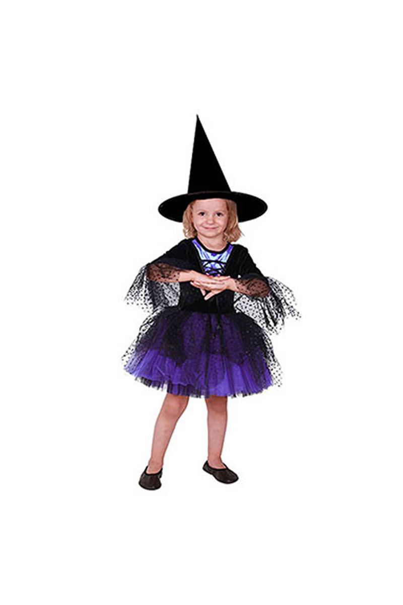 Cadı Kostümü Tütü Mor-Siyah 3-4 Yaş 1 Adet