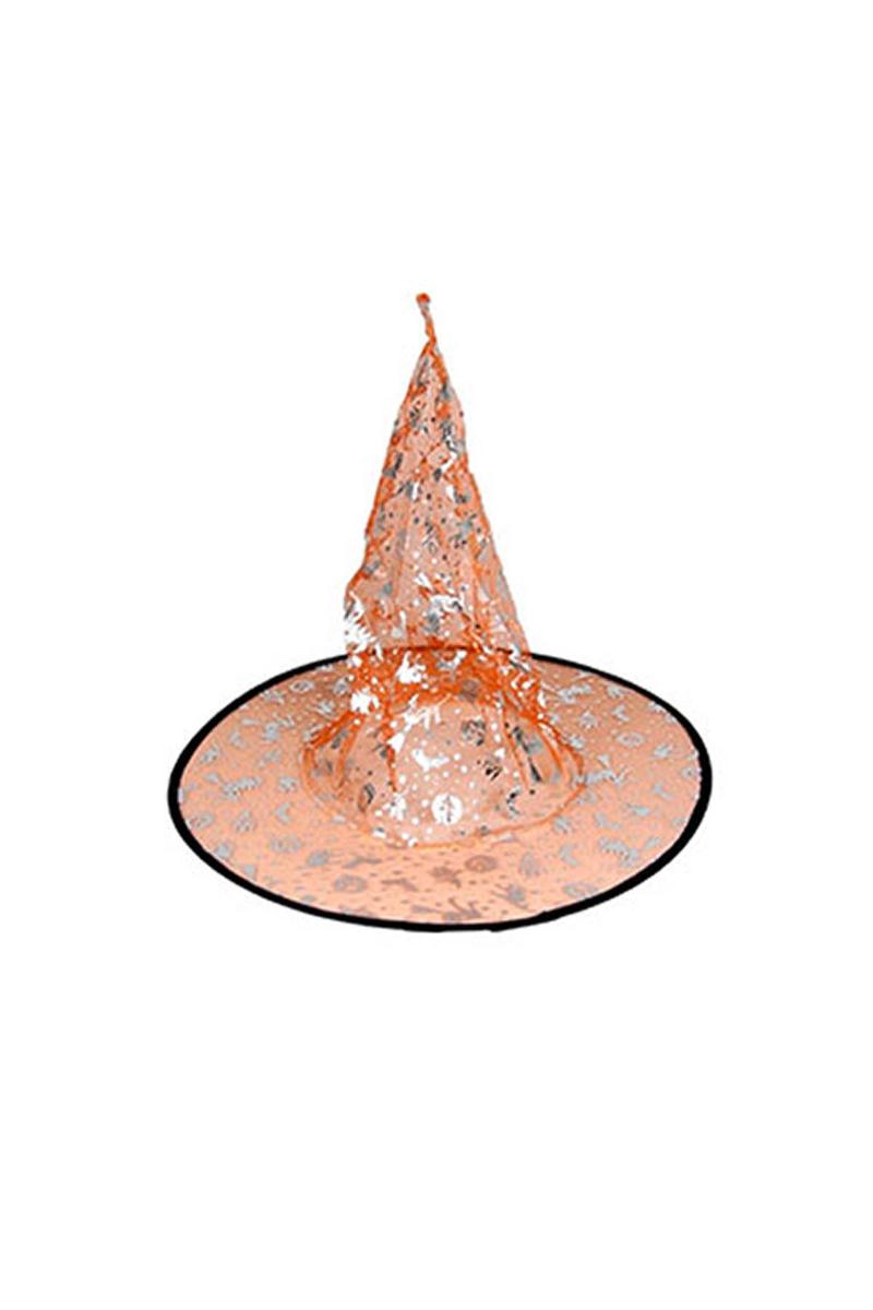 Cadılar Bayramı Altın Balkabaklı Turuncu Cadı Şapkası 1 Adet