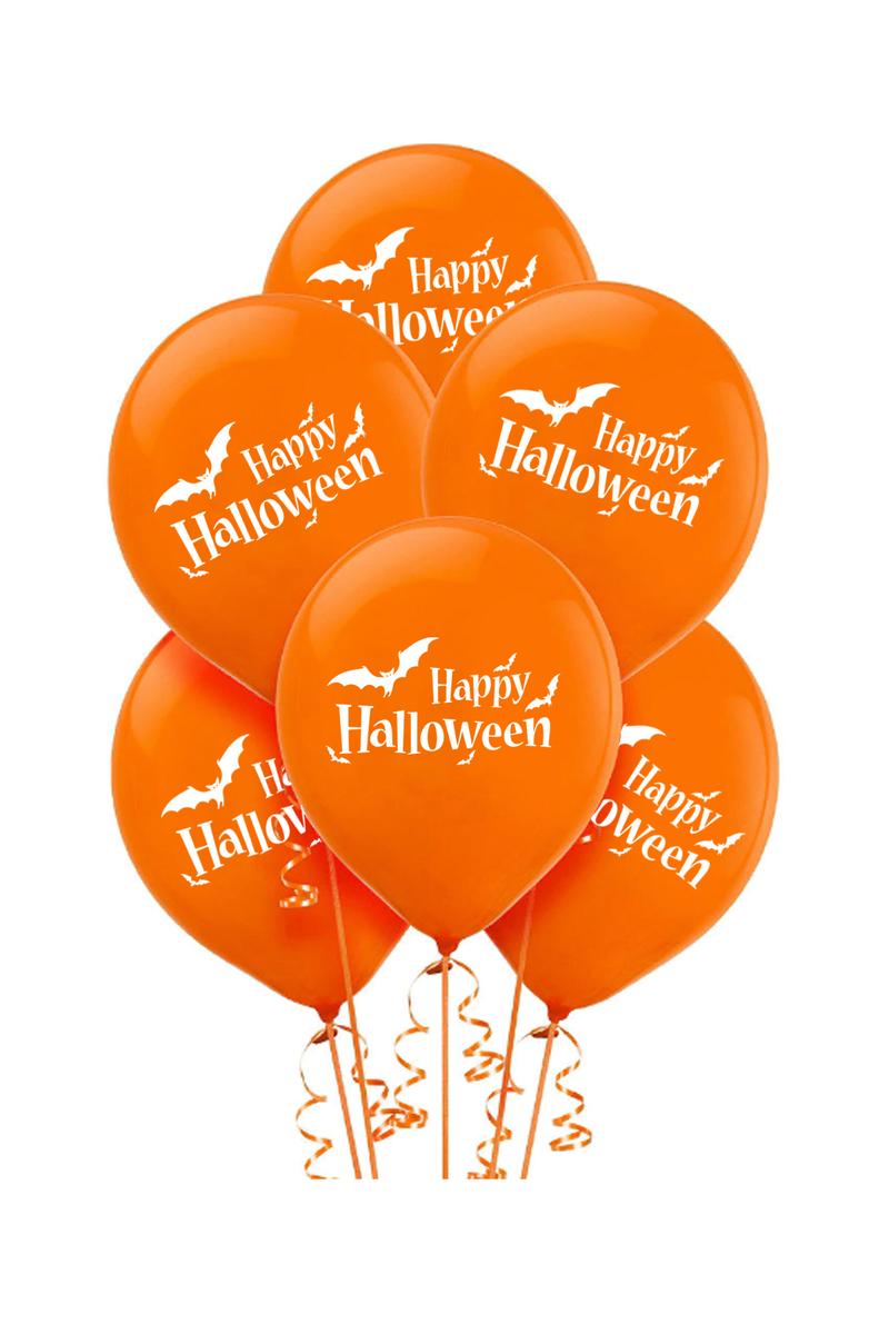 Cadılar Bayramı Happy Halloween-Yarasa Baskılı Turuncu Balon 10lu