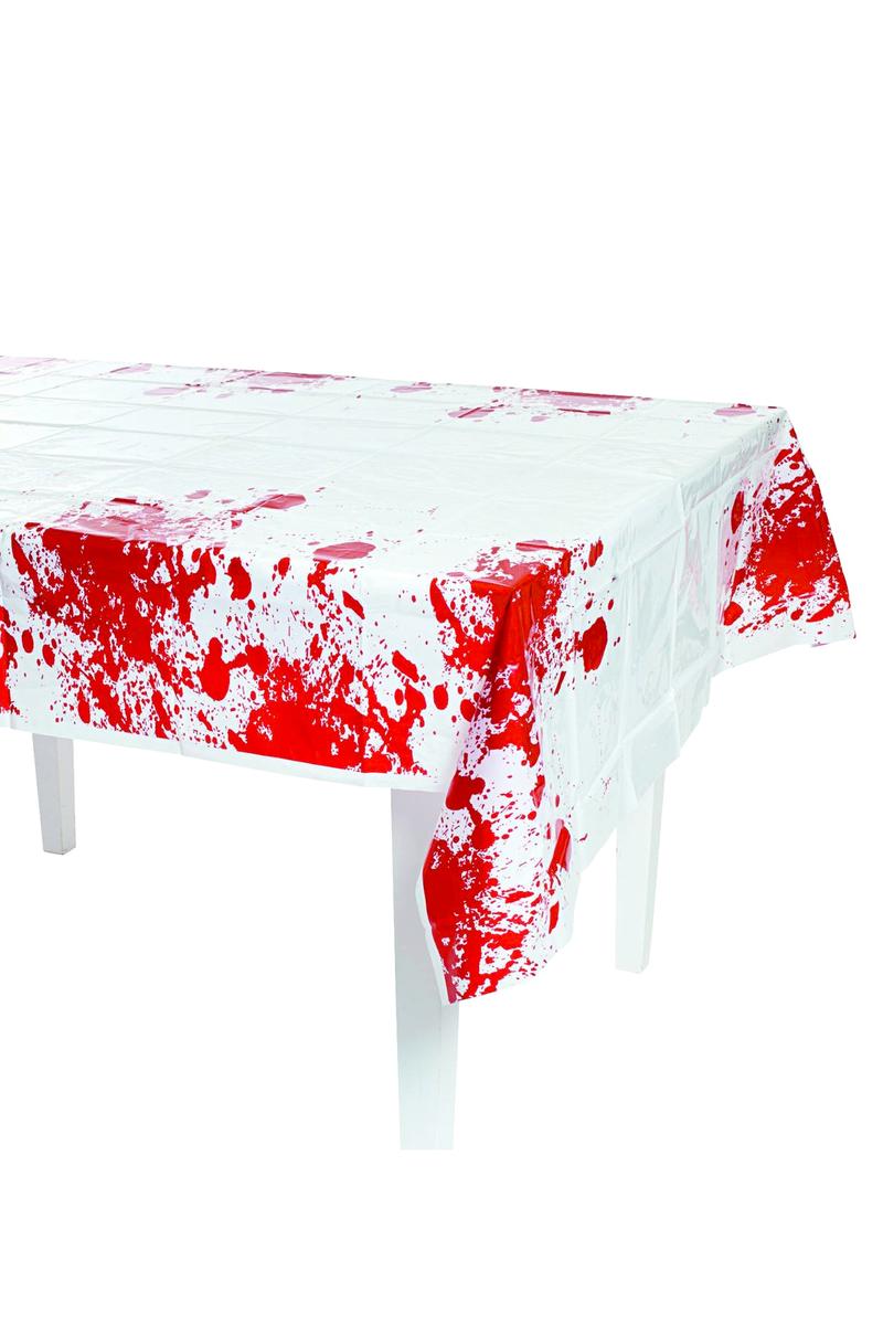 Cadılar Bayramı Kan Desenli Plastik Masa Örtüsü 132x178cm 1 Adet - Thumbnail