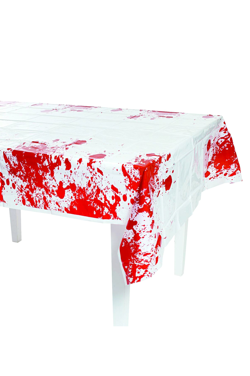 Cadılar Bayramı Kan Desenli Plastik Masa Örtüsü 132x178cm 1 Adet