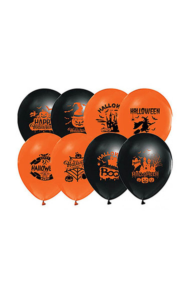 Cadılar Bayramı-Halloween Karakter Baskılı Turuncu-Siyah Balon 10lu