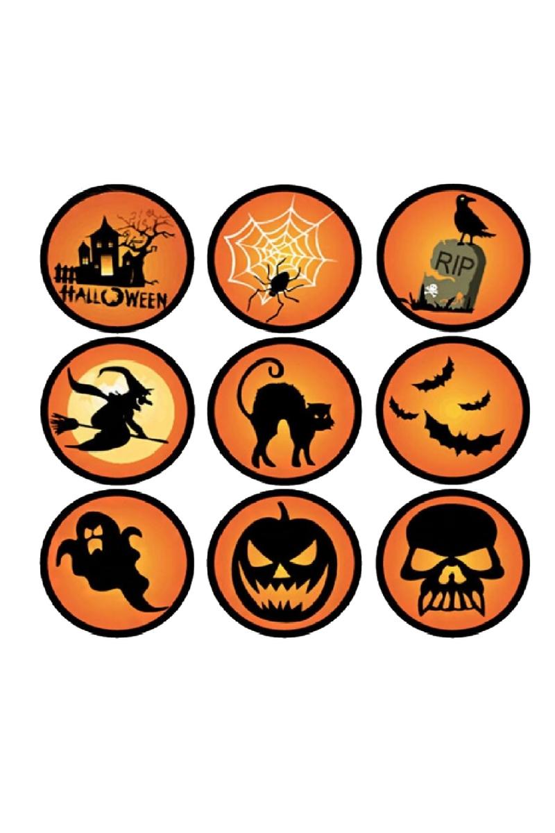 Cadılar Bayramı Simgeleri Sticker 4x4cm 9lu