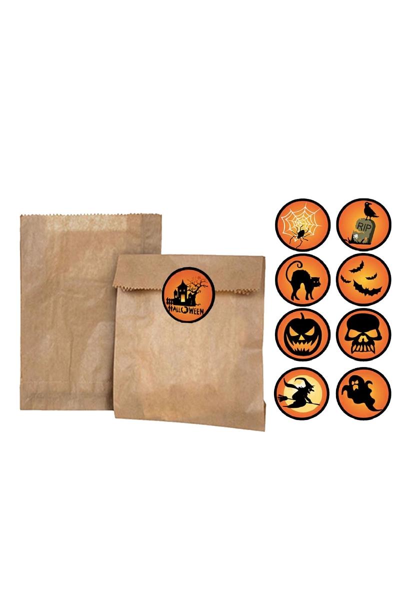 Cadılar Bayramı Simgeleri Sticker 4x4cm 9lu - Thumbnail
