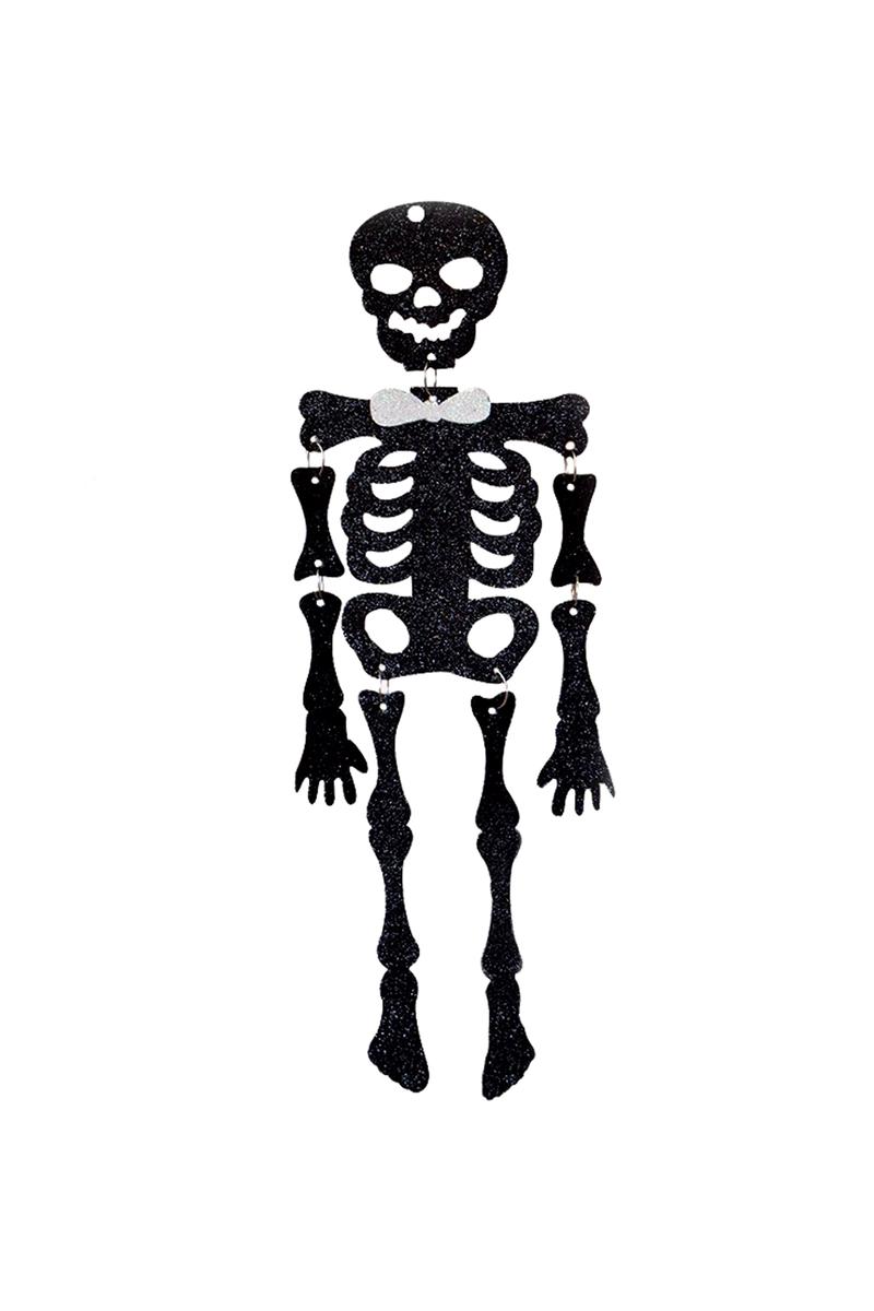 Cadılar Bayramı Siyah Simli İskelet Asma Dekor Süs 50cm 1 Adet