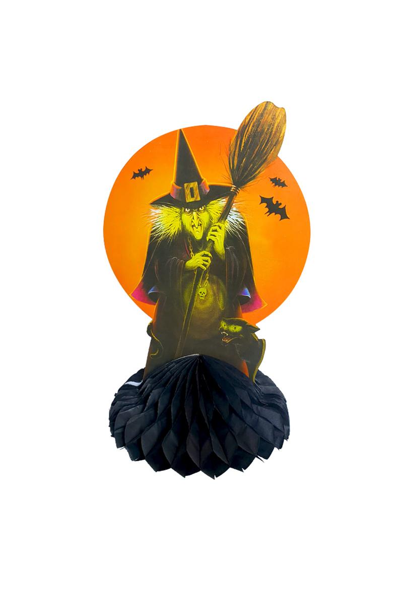 Cadılar Bayramı Süpürgeli Cadı Masa Orta Dekor Süsü 30cm 1 Adet
