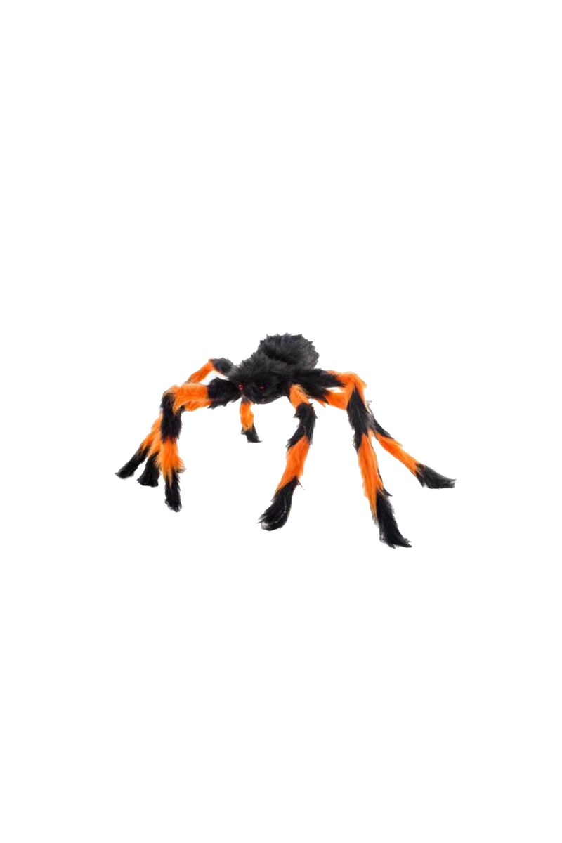 Cadılar Bayramı Turuncu-Siyah Tüylü Örümcek Dekor Süs 55cm 1 Adet