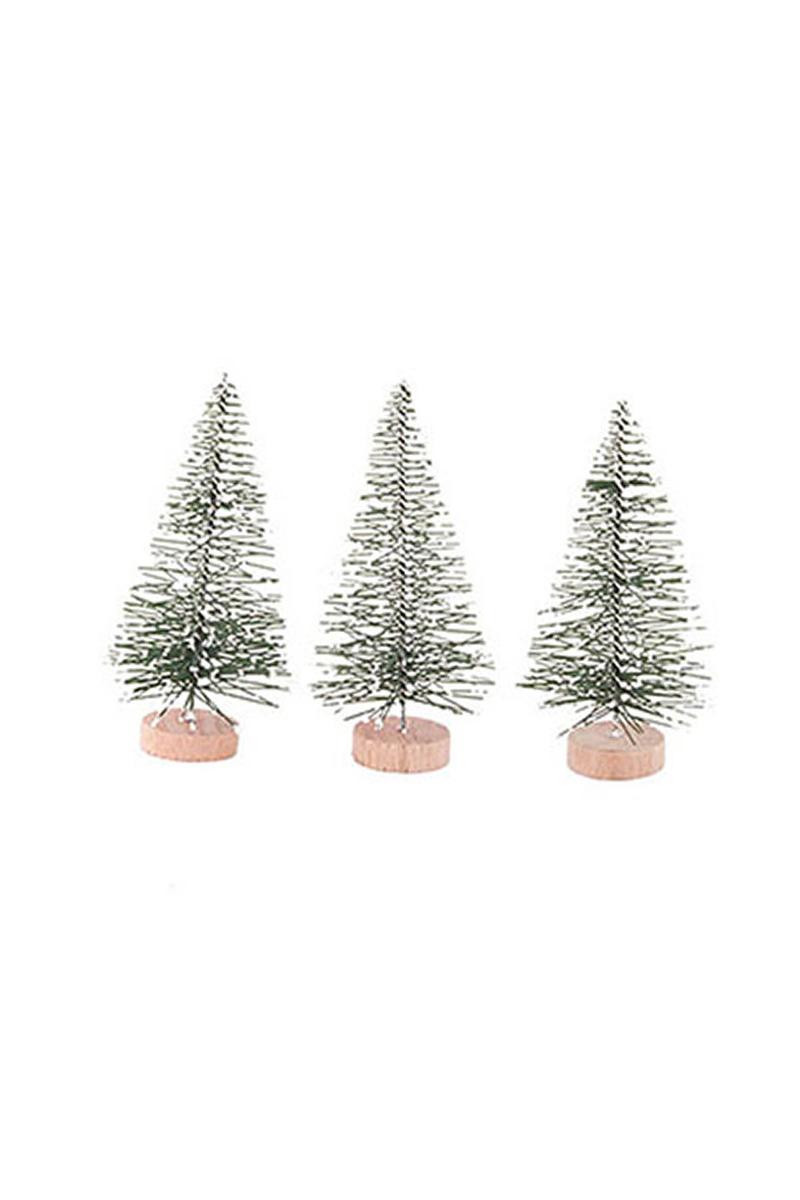 Karlı Çam Ağacı Dekor Süs 8cm 3 lü