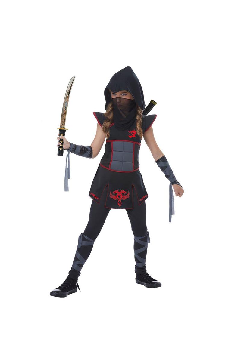 Casus Ninja Lüks Kız Çocuk Kostümü 5-6 Yaş Siyah 1 Adet