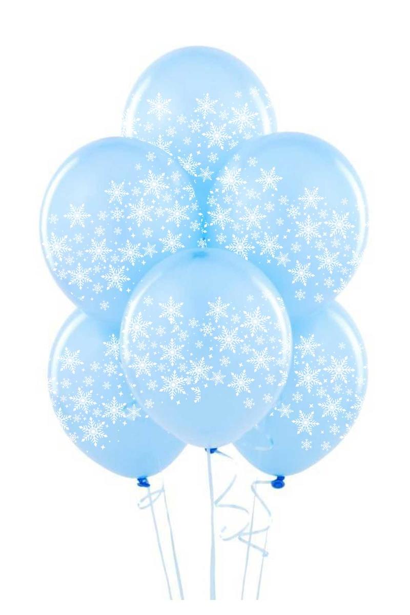 Çepeçevre Kar Tanesi Baskılı Mavi Balon 10lu
