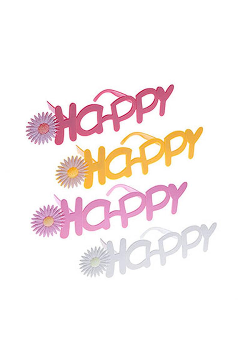 Çiçekli Happy Parti Gözlük 1 Adet
