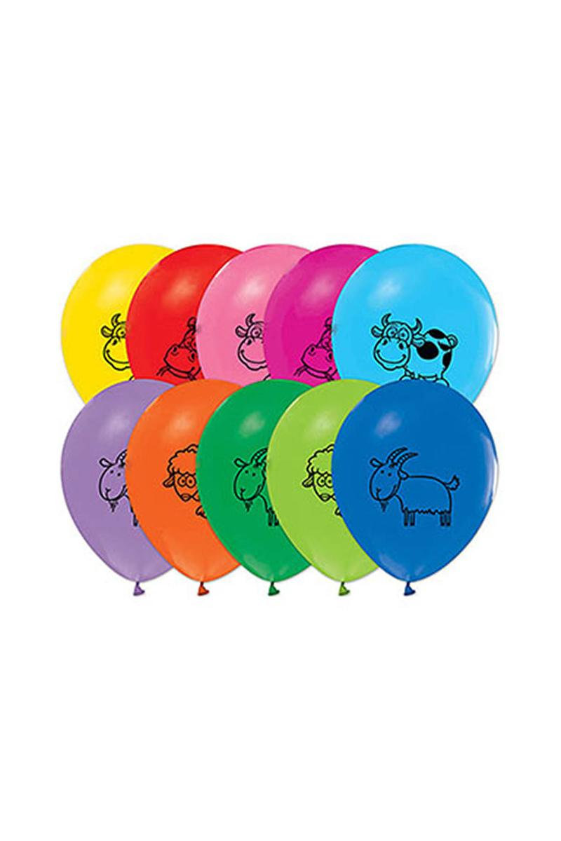 Çiftlik Hayvanları Baskılı Balon 10lu