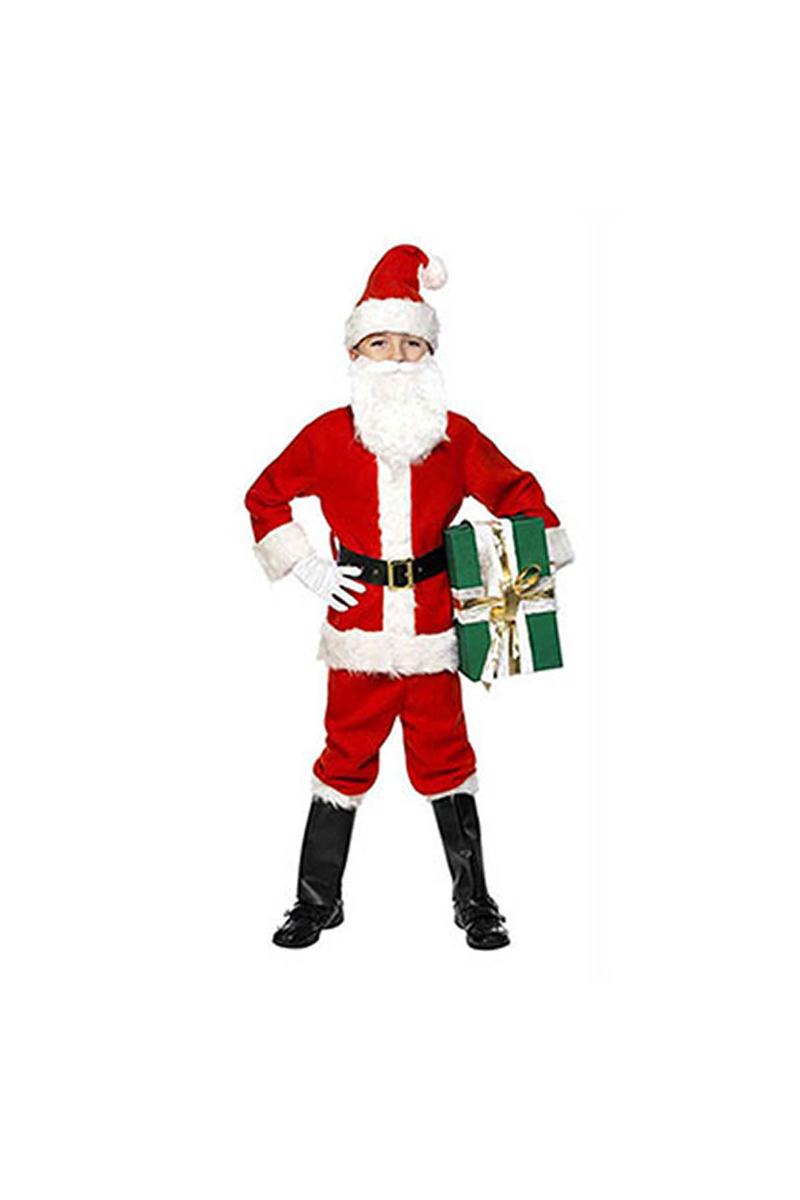 Çocuk Noel Baba Lüks Kostüm 7-8 Yaş 1 Adet