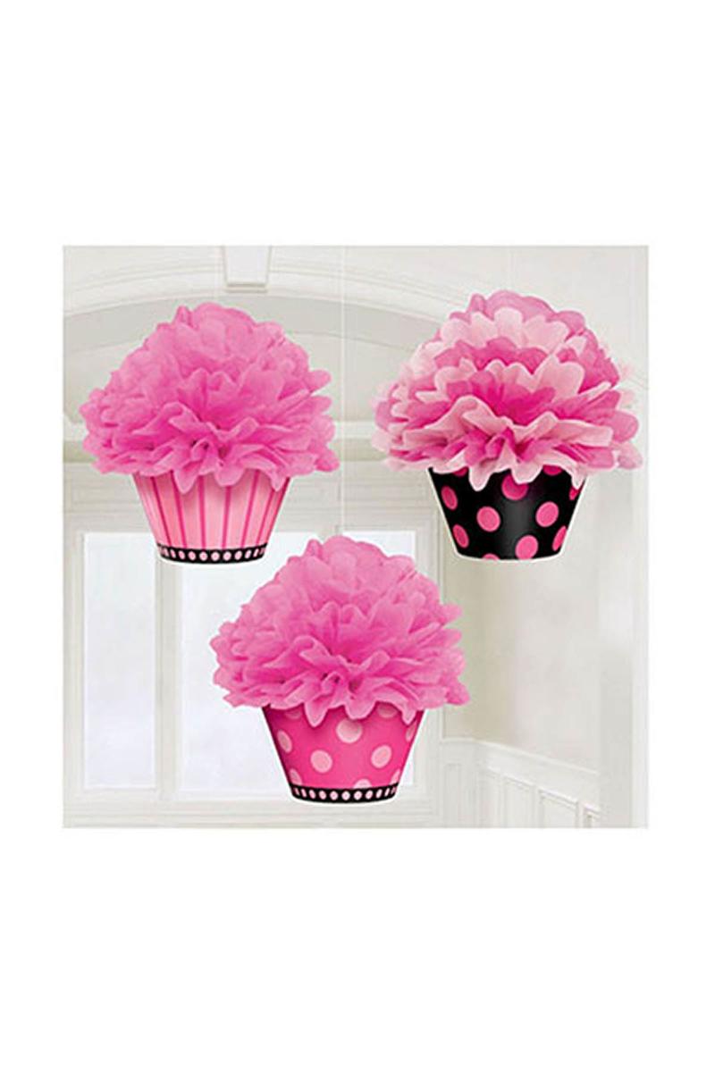 Cupcake Ponpon Süs Seti 3lü