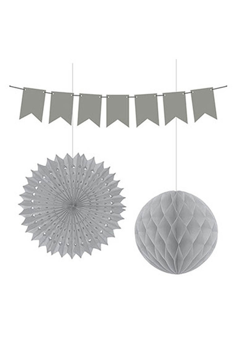 Dekorasyon Süs Seti Gümüş 1 Adet - Thumbnail
