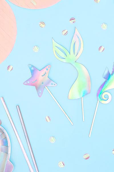 Deniz Kızı Temalı Hologramlı Kürdan 3lü