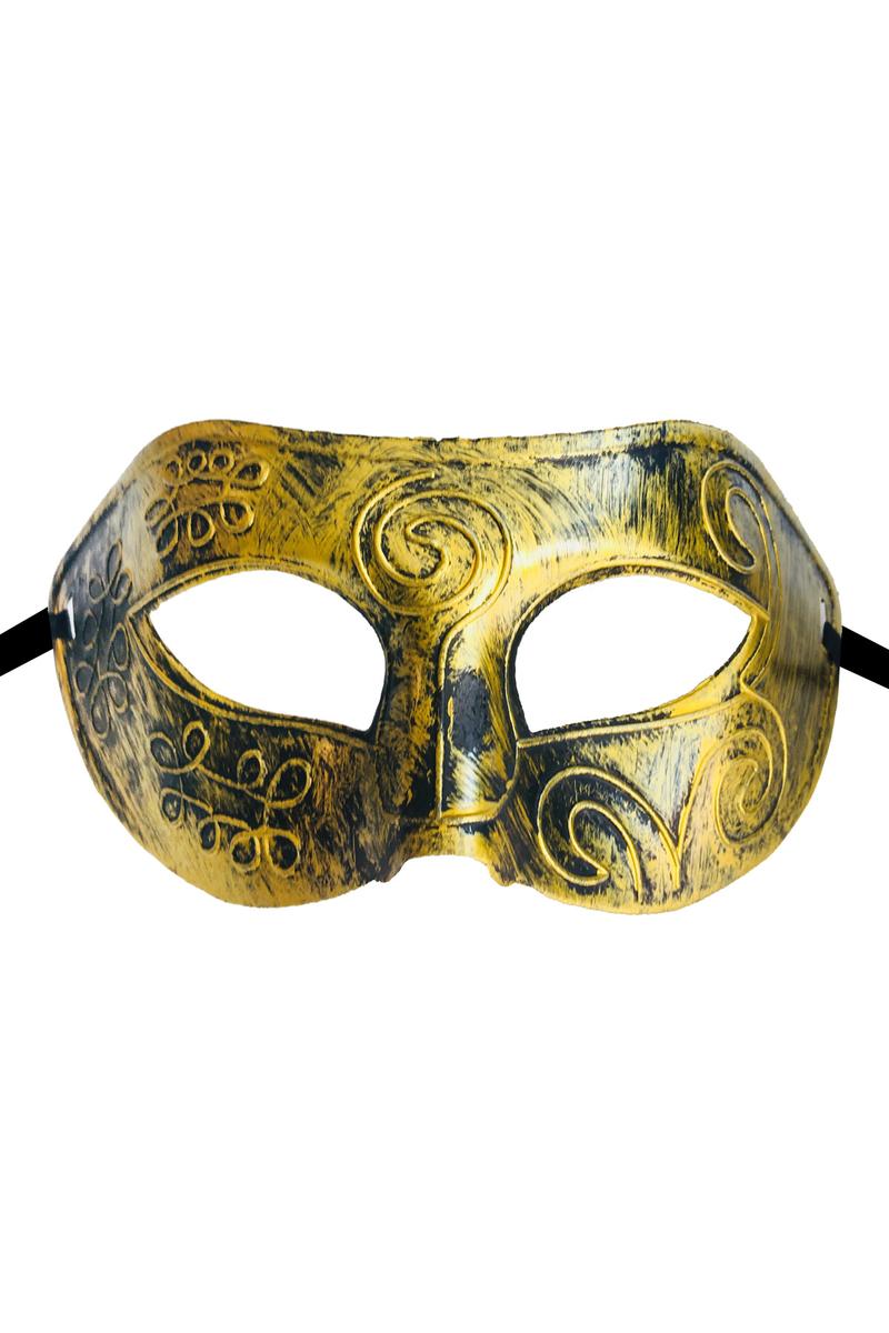 Desenli Lüks Balo Maske Altın 1 Adet