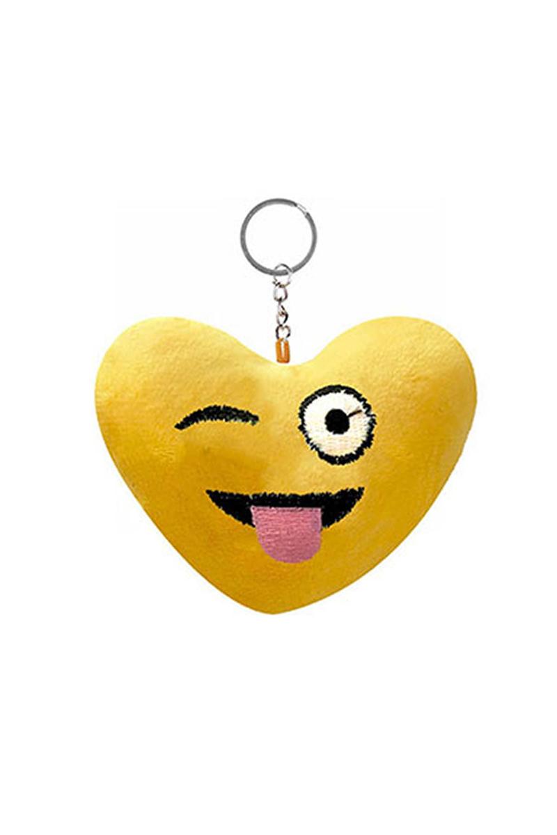 Dil Çıkartan Kalp Şeklinde Emoji Anahtarlık 1 Adet