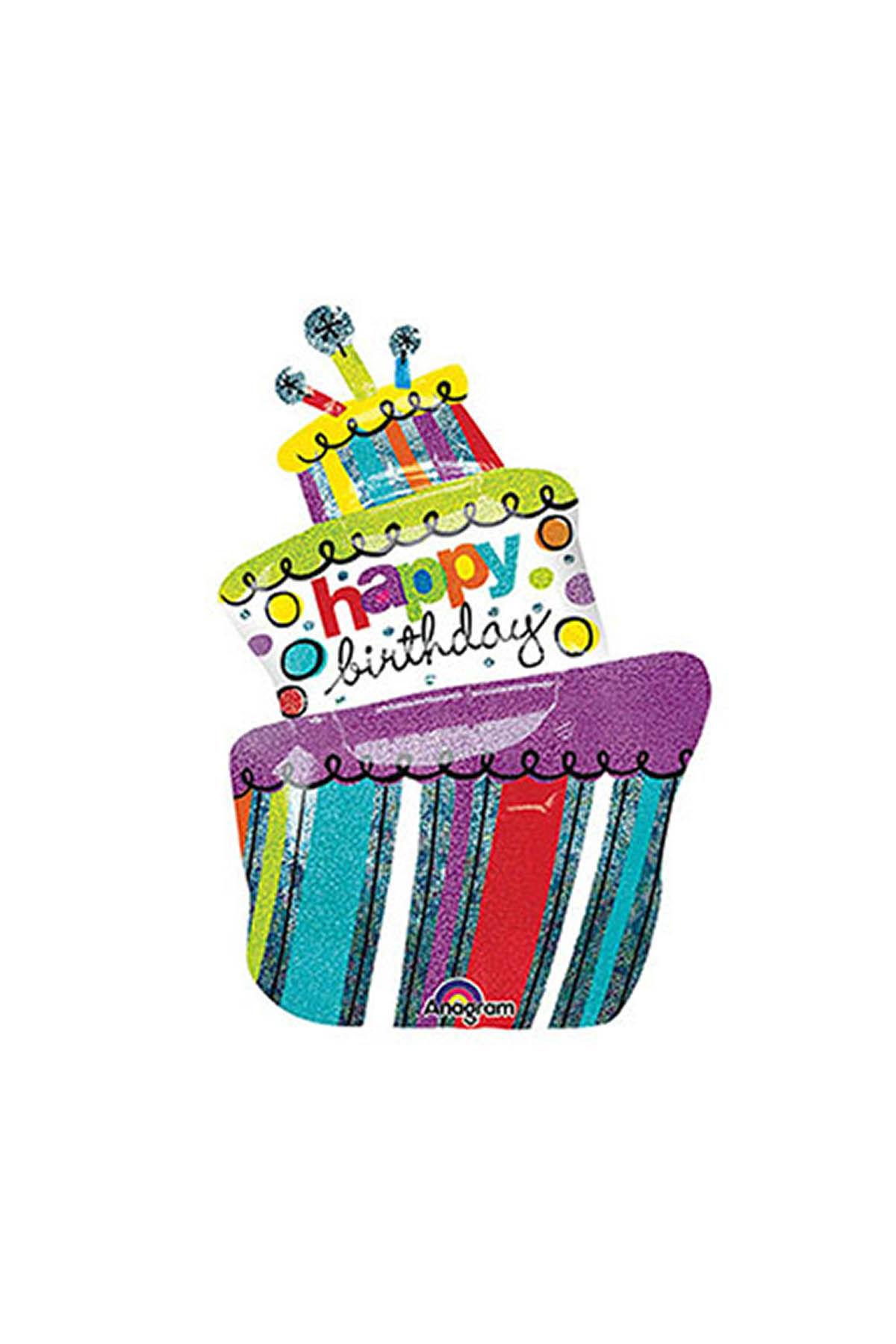 Doğumgünü Pastası Super Shape Folyo Balon 61 cm x 94 cm