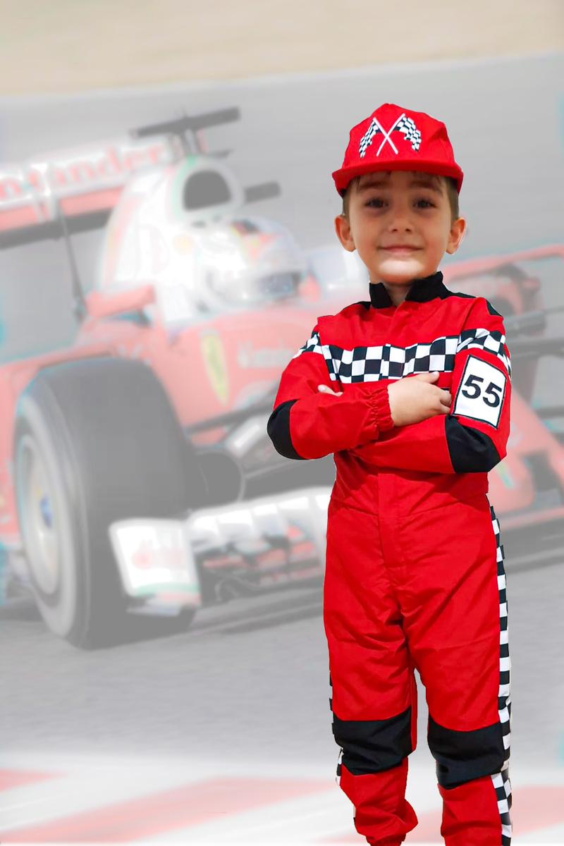 Formula Yarışçı Kostümü 3-4 Yaş 1 Adet