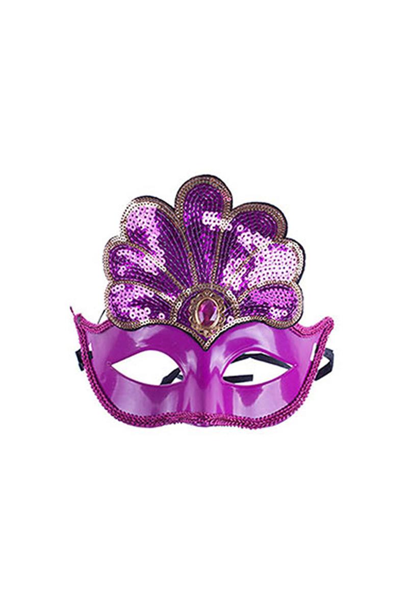 Fuşya Payetli Balo Maskesi 1 Adet