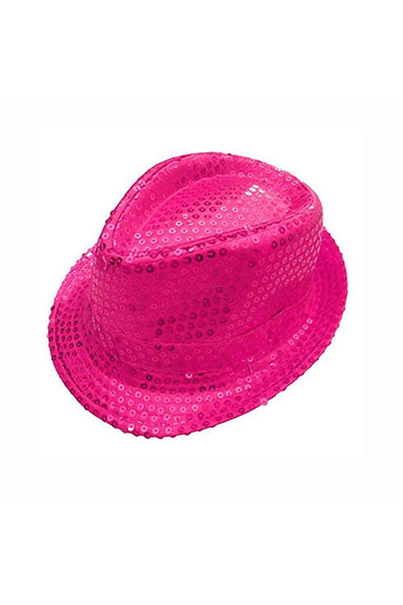 Fuşya Payetli Fötr Şapka 1 Adet