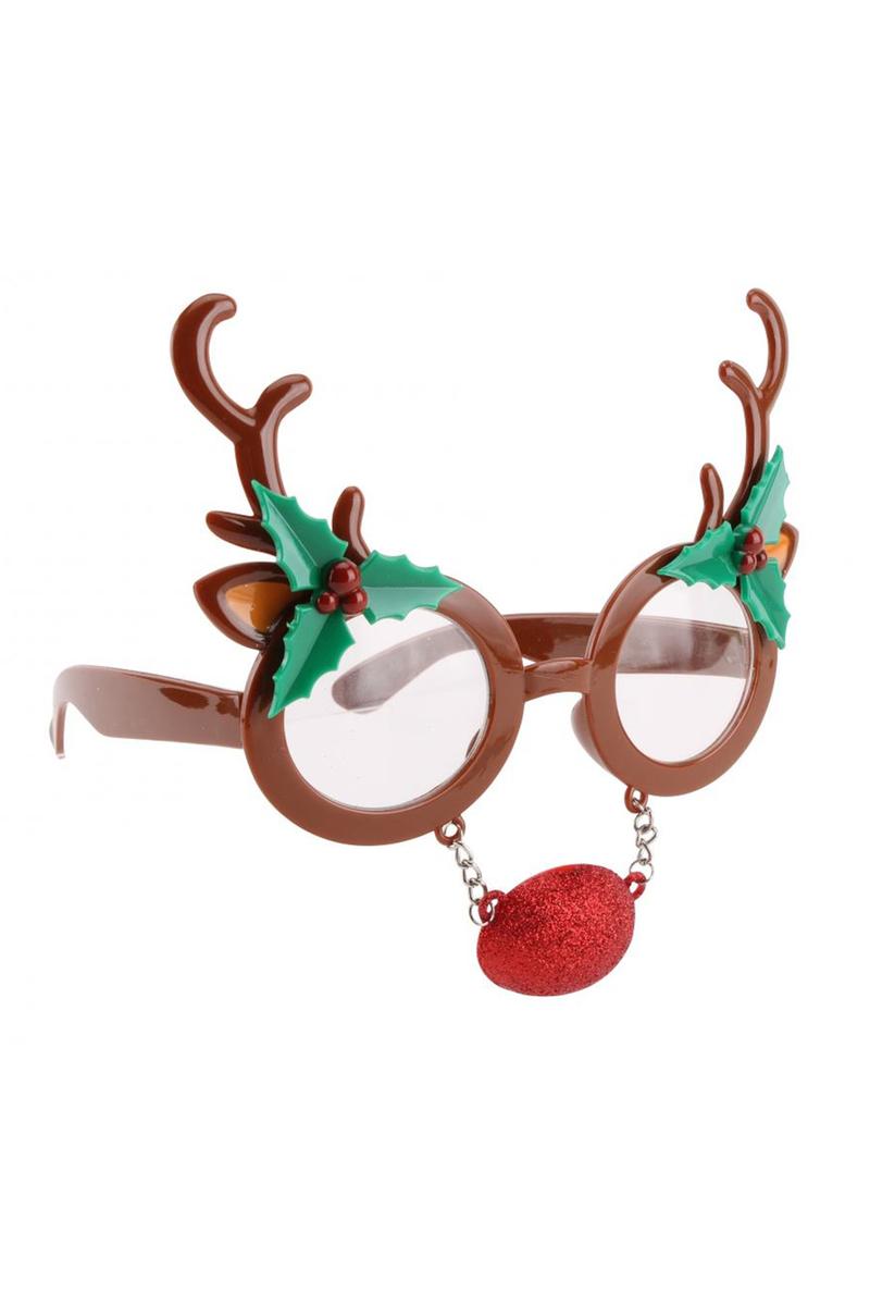 Geyik Burunlu Yılbaşı Gözlük Kahverengi 1 Adet