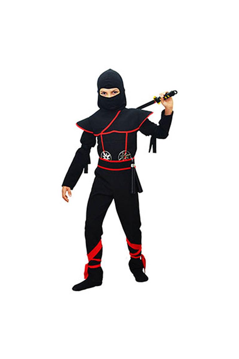 Gizli Ninja Çocuk Kostümü Lüks Siyah 5-6 Yaş 1 Adet - Thumbnail