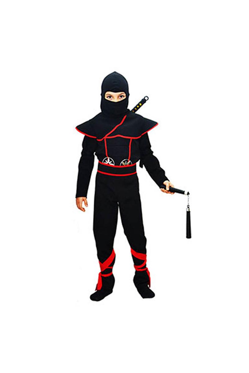 Gizli Ninja Çocuk Kostümü Lüks Siyah 9-10 Yaş 1 Adet
