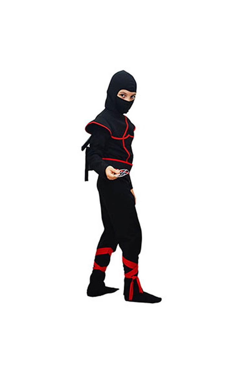 Gizli Ninja Çocuk Kostümü Lüks Siyah 9-10 Yaş 1 Adet - Thumbnail