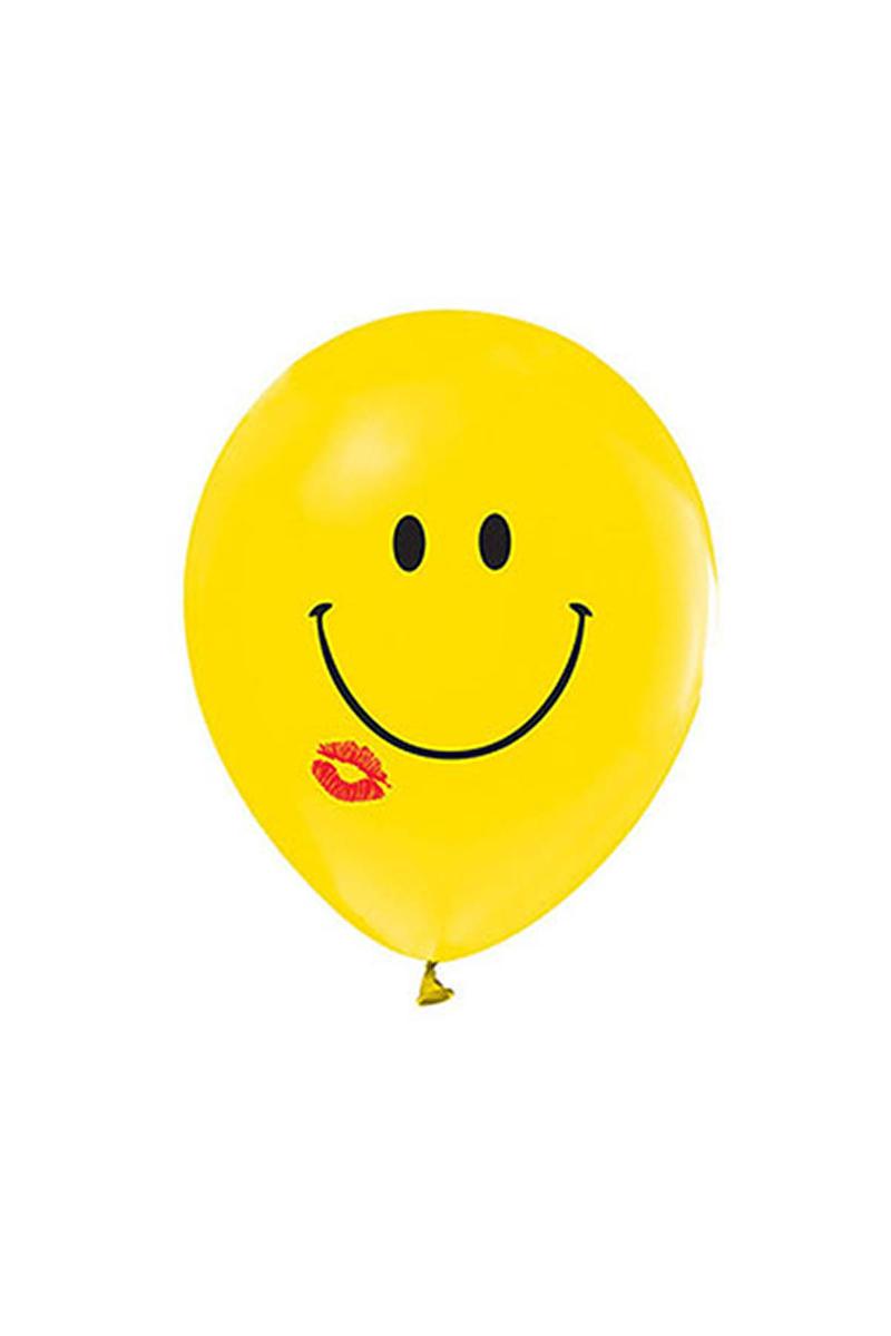 Gülen Yüz Öpücük Baskılı Sarı Balon 10lu