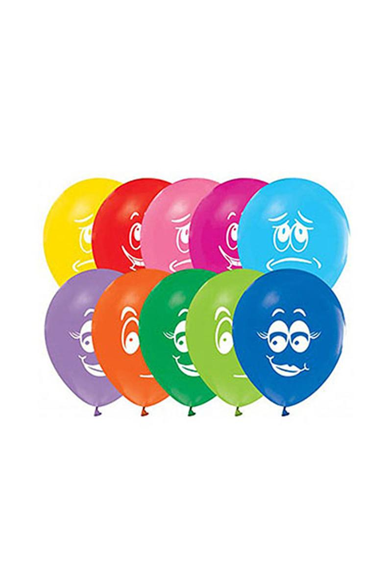 Gülen Yüz Baskılı Renkli Balon 10lu