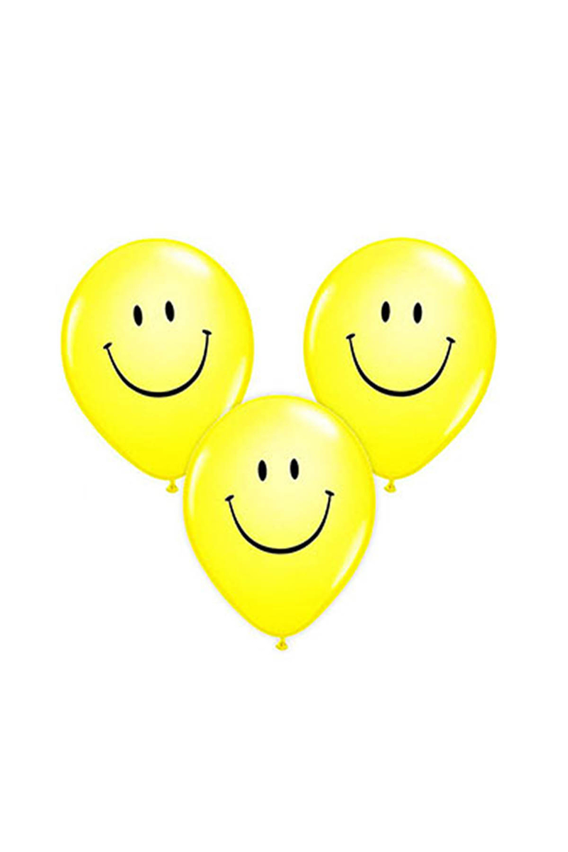 Gülen Yüz Baskılı Sarı Balon 10lu