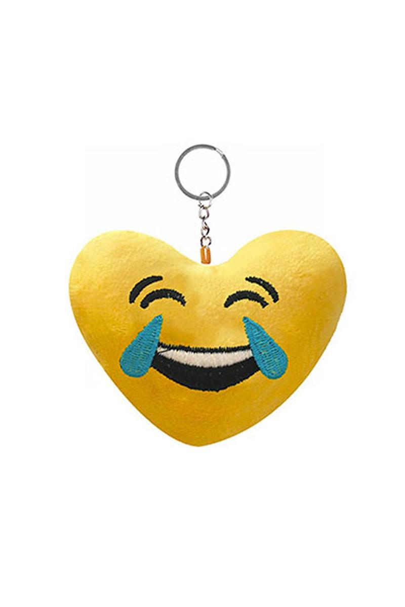 Gülmekten Ağlayan Kalp ŞeklindeEmoji Anahtarlık 1 Adet