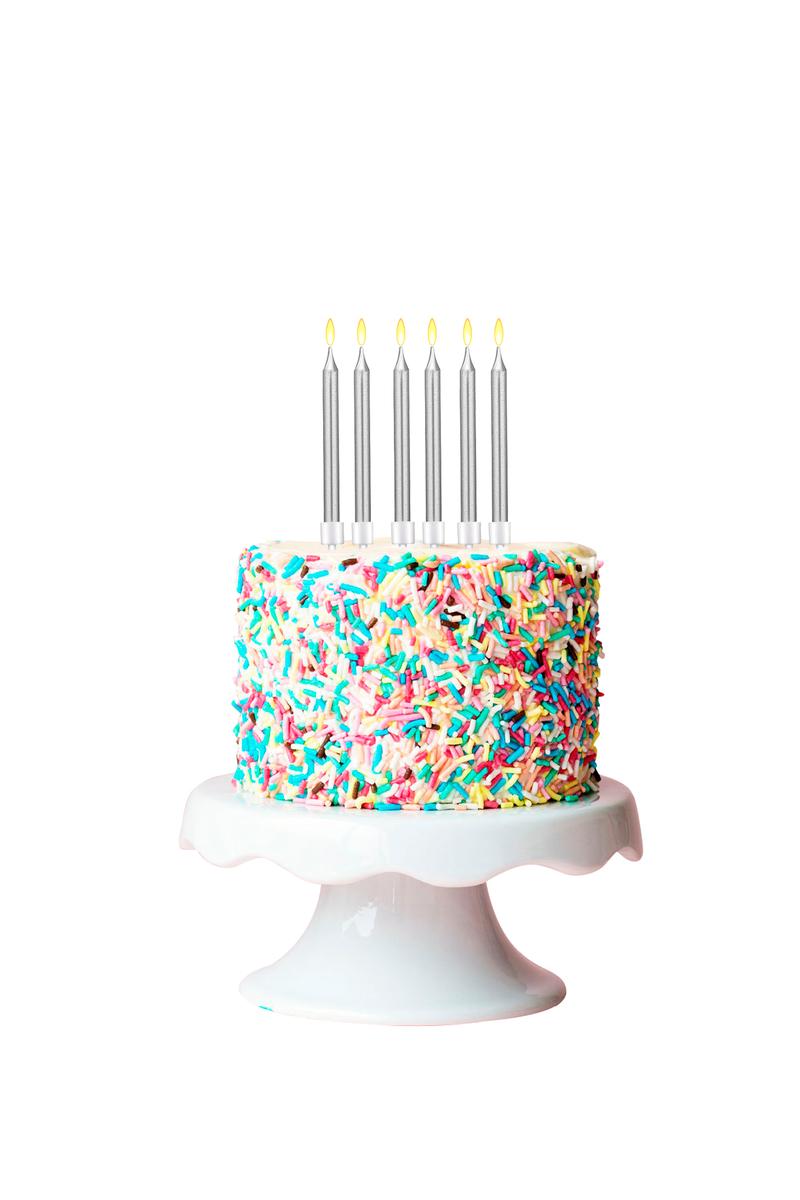 Gümüş Doğum Günü Mumu ve Altlık Set 12cm 6lı - Thumbnail