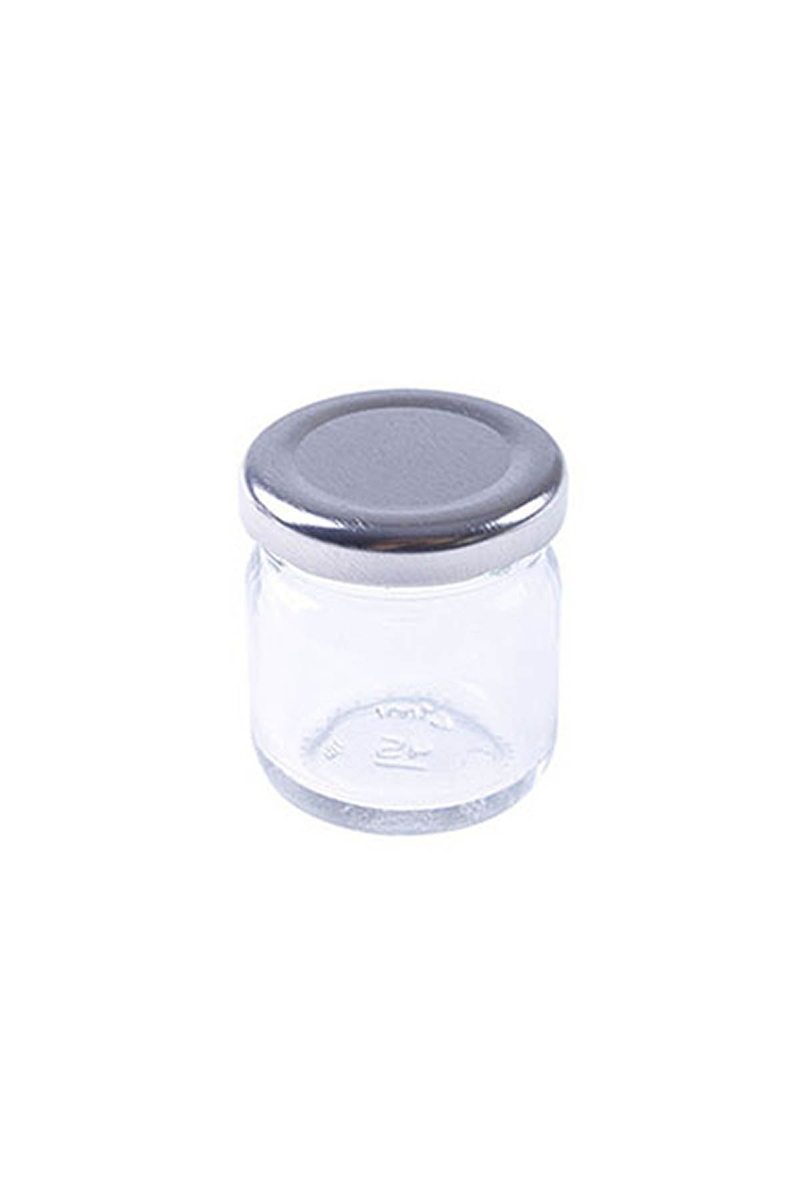 Mini Cam Kavanoz Gümüş Kapaklı 40cc 5li